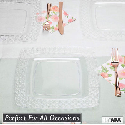 100 Square Plastic Plates - 6 Inch Clear Disposable Plates with Diamond Design Rim for Dessert, Salad or Appetizer, Bulk Set