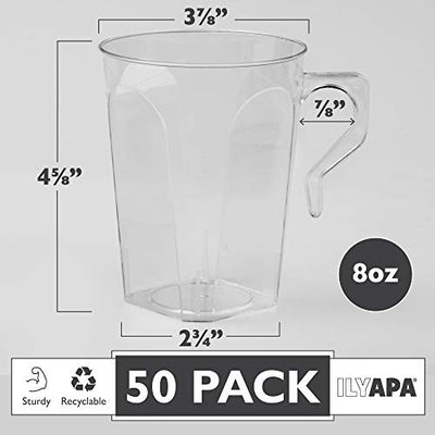 50 Plastic Coffee Cups with Handles, 8 oz Clear - Disposable or Reusable Mug Pack