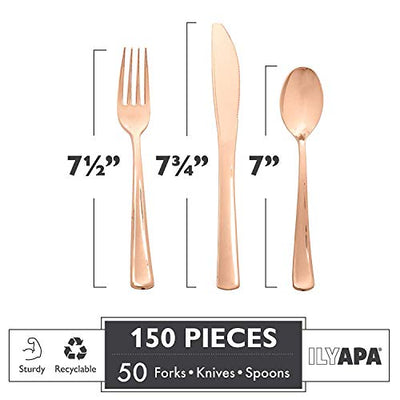 150 Piece Rose Gold Plastic Silverware Set - 50 Spoons, 50 Forks & 50 Knives - Bulk Disposable Cutlery for Party