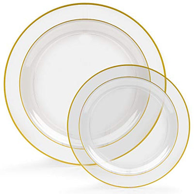 60 Gold Rim Plastic Plates Set - Bulk Clear, Gold Rimmed Dinner & Salad Disposable Plates for Wedding or Party