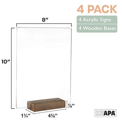 Acrylic Sign Holders with Wood Stands, 4 Pack - 8x10 Inch Blank Table Numbers Set for Wedding