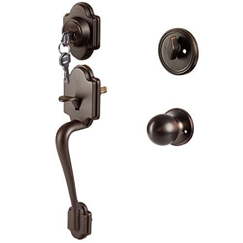 Traditional Style Front Door Exterior Handleset - Elegant Lock Set Handle Hardware with Single Cylinder Deadbolt Lock and Knob - Improved Classic Oil Rubbed Bronze Finish