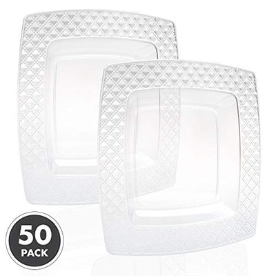 50 Square Plastic Plates - 6 Inch Clear Disposable Plates with Diamond Design Rim for Dessert, Salad or Appetizer, Bulk Set