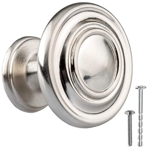 Satin Nickel Kitchen Cabinet Knobs - Round Ringed Drawer Handles - 10 Pack of Kitchen Cabinet Hardware