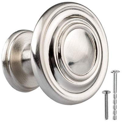 Satin Nickel Kitchen Cabinet Knobs - Round Ringed Drawer Handles - 25 Pack of Kitchen Cabinet Hardware
