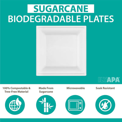 100 Square Disposable Dinner Plates Set - 10 Inch White Compostable, Biodegradable & Microwavable Sugarcane Tree Free Plates