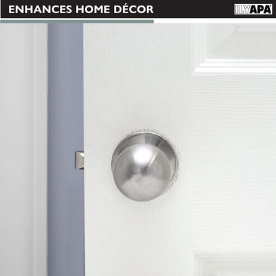 Ilyapa Half Dummy Door Knob for Hall/Closet or French Doors - Ball, Satin Nickel Interior Keyless Non Turning Round Door Handle, Satin Nickel, 6 Pack