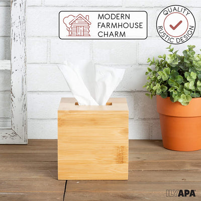 Ilyapa Bamboo Tissue Box Cover Square - Rustic Farmhouse Tissue Holder