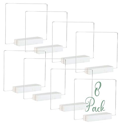 Acrylic Sign Holders with White Wood Stands, 8 Pack - Small 5x6 Inch Blank Table Numbers Set for Wedding