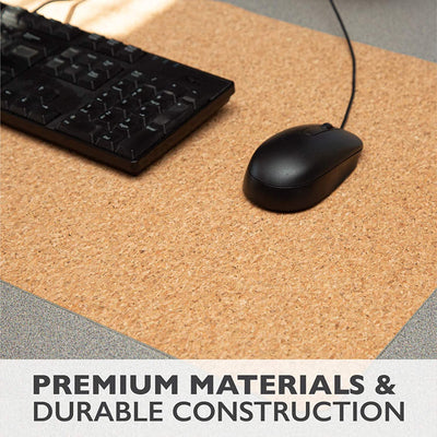 Office Desk Mat, Double Sided Black & Cork - 36 x 17 Inch Leather Style Computer Pad for Desk