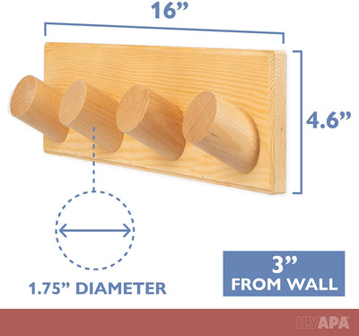 Coat Hook Wall Pegs - 4 Pack of Wall Mounted Wood Hooks, Beechwood