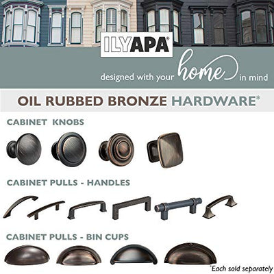 Oil Rubbed Bronze Kitchen Cabinet Knobs - Round Ringed Drawer Handles - 25 Pack of Kitchen Cabinet Hardware