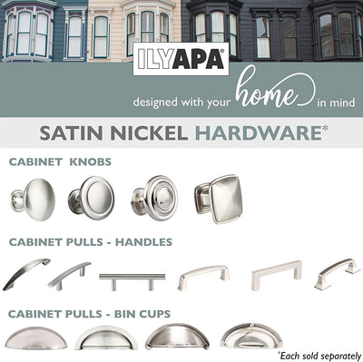Satin Nickel Kitchen Cabinet Pulls - 3 Inch Hole Center Bin Cup Drawer Handles - 10 Pack of Kitchen Cabinet Hardware - New Design