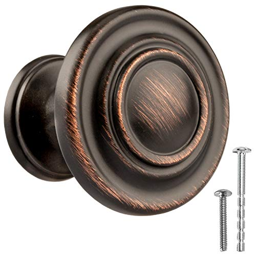 Oil Rubbed Bronze Kitchen Cabinet Knobs - Round Ringed Drawer Handles - 10 Pack of Kitchen Cabinet Hardware
