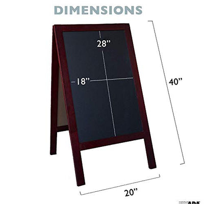 Wooden A-Frame Sign with Eraser & Chalk - 40 x 20 Inches Magnetic Sidewalk Chalkboard - Sturdy Freestanding Stained Wood Sandwich Board Menu Display for Restaurant, Business or Wedding