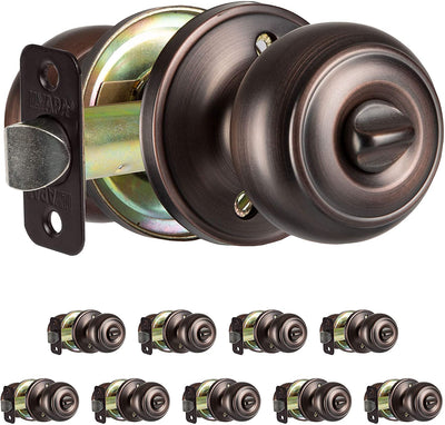 Interior Privacy Door knob - Keyless Locking Door Handles for Bedroom and Bathroom - Improved Oil Rubbed Bronze Finish - (10 Pack)