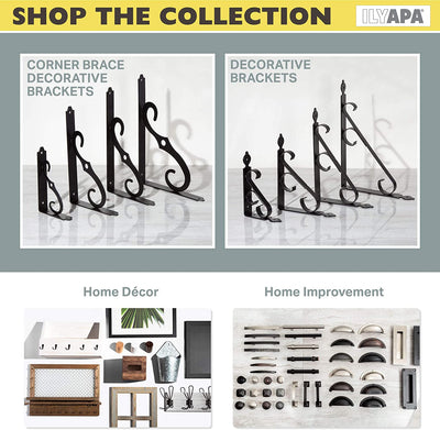Heavy Duty Floating Shelf Brackets, 4 Pack - 8x12 Inch Decorative Metal Corner Brace Support for Wall Mount Shelves