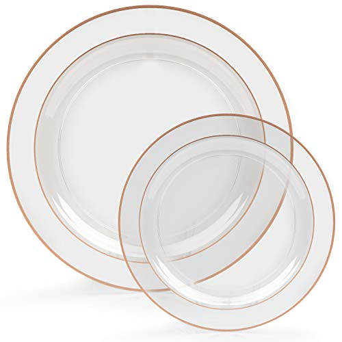 60 Rose Gold Rim Plastic Plates Set - Bulk Clear, Rose Gold Rimmed Dinner & Salad Disposable Plates for Wedding or Party