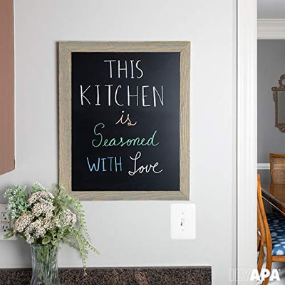 Ilyapa Rustic Wooden Magnetic Kitchen Chalkboard Sign - 18x22 Inch Graywash Framed Hanging Chalk Board for Farmhouse Decor, Wedding, Restaurant & Home