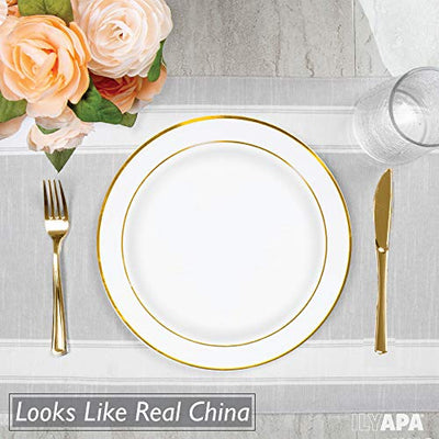 50 Gold Rim Plastic Plates Set, 6 Inch - Bulk White, Gold Rimmed Salad Disposable Plates for Wedding or Party