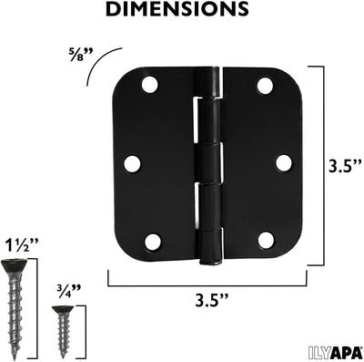 6 Pack of Door Hinges Black - 3.5 x 3.5 Inch Interior Hinges for Doors with 5/8 Radius Corners