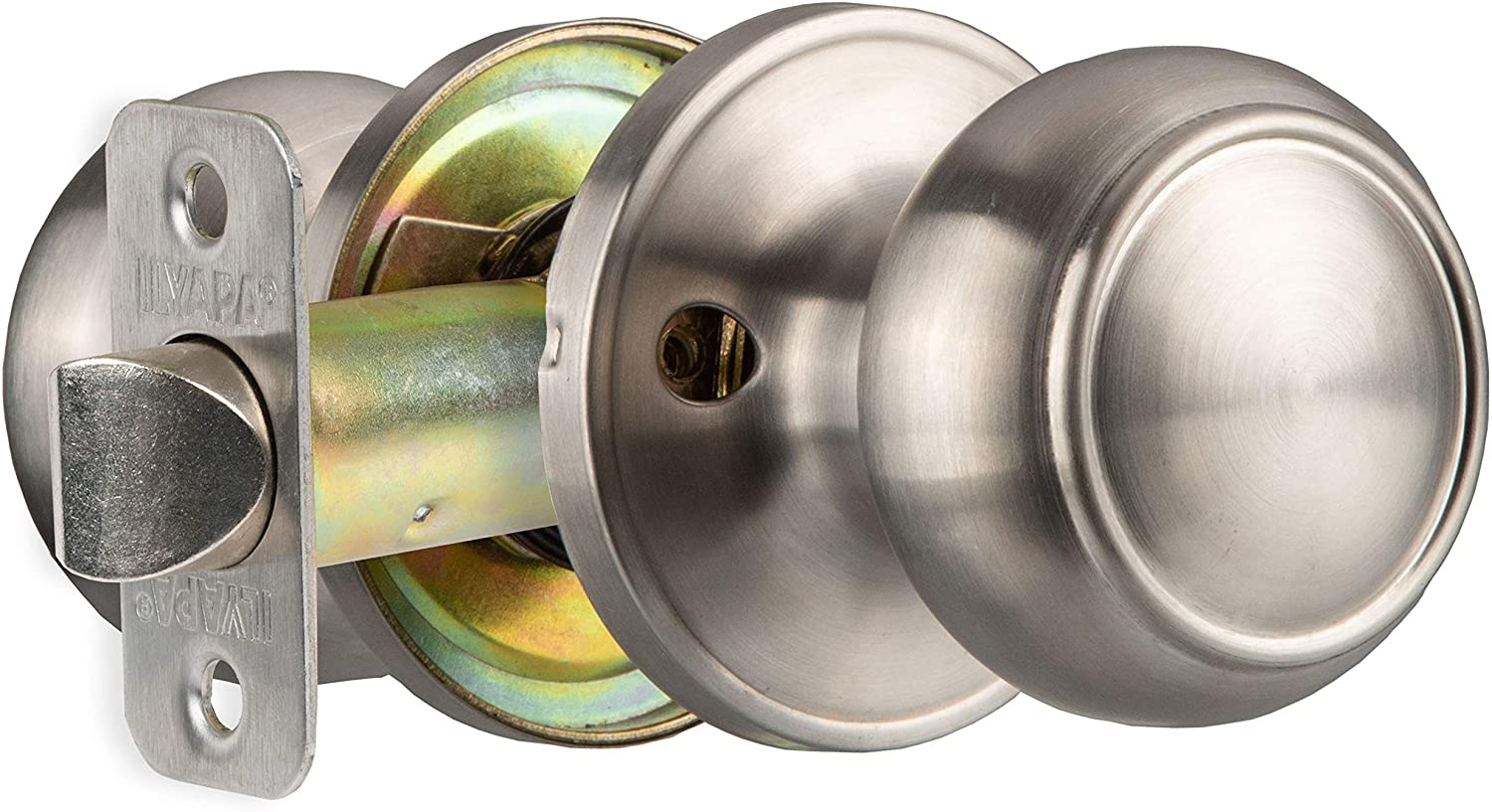 Interior Passage Door Knob - Keyless Hall and Closet Lockset - Satin Nickel Finish