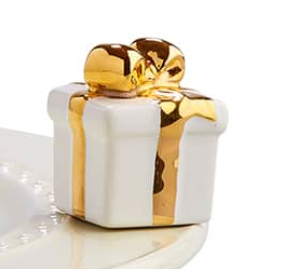 White gift with gold bow (A185)