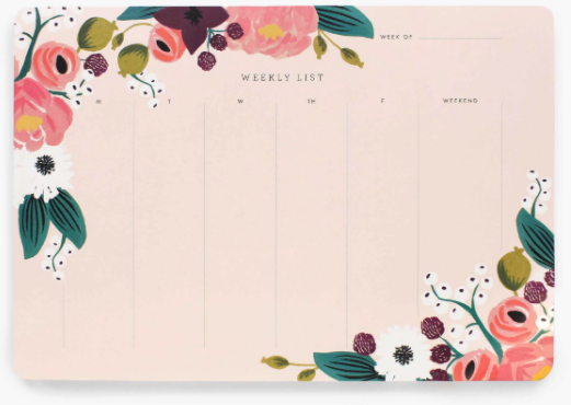 Pink Floral Weekly Desk Pad