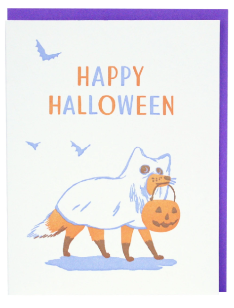 Ghost Fox Halloween Card