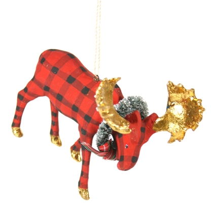 Gilded Plaid Moose Ornament