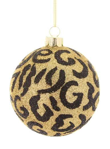 Glitter Leopard Ball Ornament