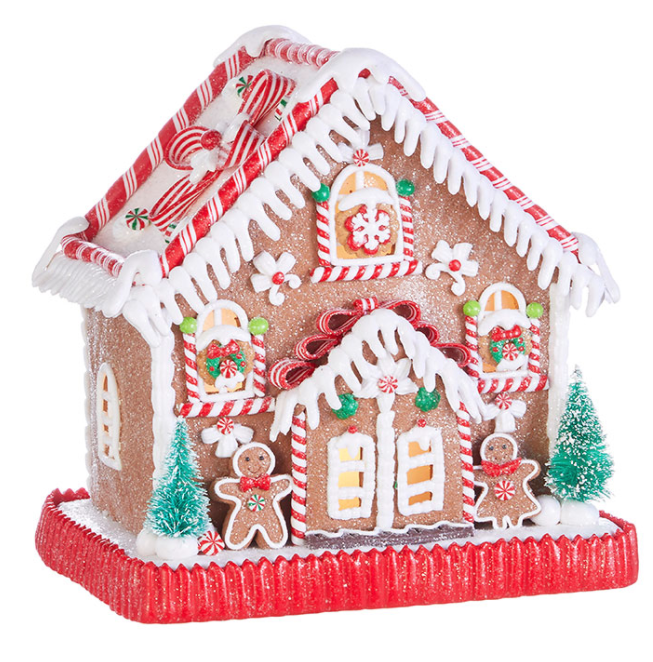 Lighted Peppermint Gingerbread House