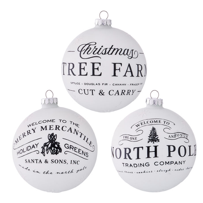 Christmas Tree Farm Glass Ornaments