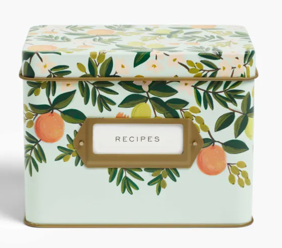 RPC Citrus Floral Tin Recipe Box