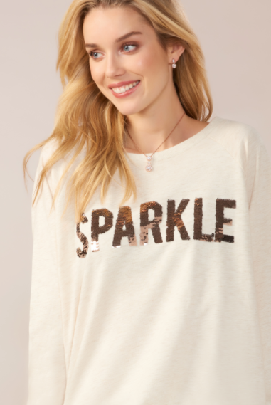 Sparkle Sequin Pullover- Natural