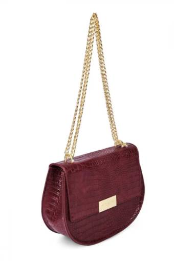 Celine Faux Croc Saddle Purse - Burgundy