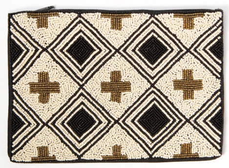 Beaded Clutch - Tan w/Crosses