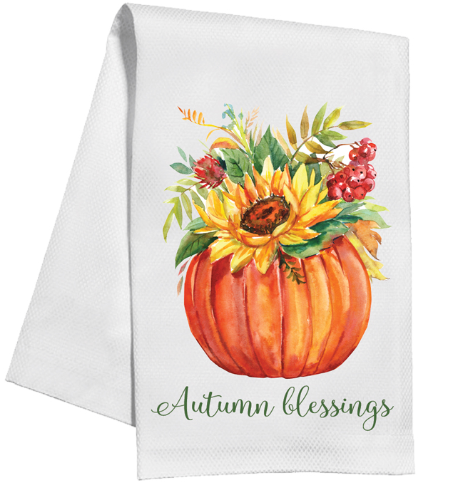 Floral Pumpkin Kitchen Towel