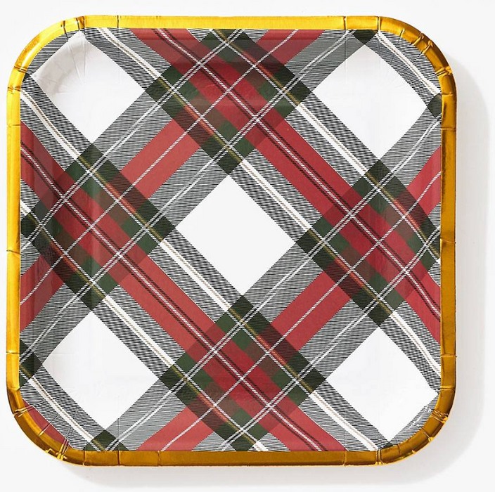 Plaid Square Cocktail Plate