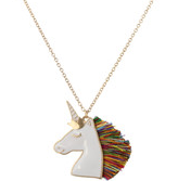 Unicorn with Multi Tassel Mane Necklace