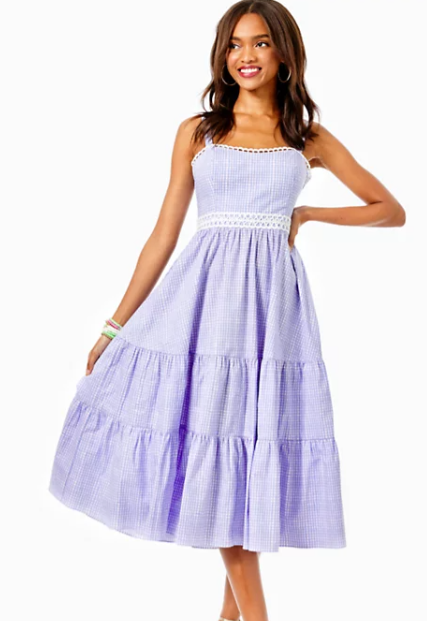 OLIVET STRETCH MIDI DRESS - LILAC GINGHAM
