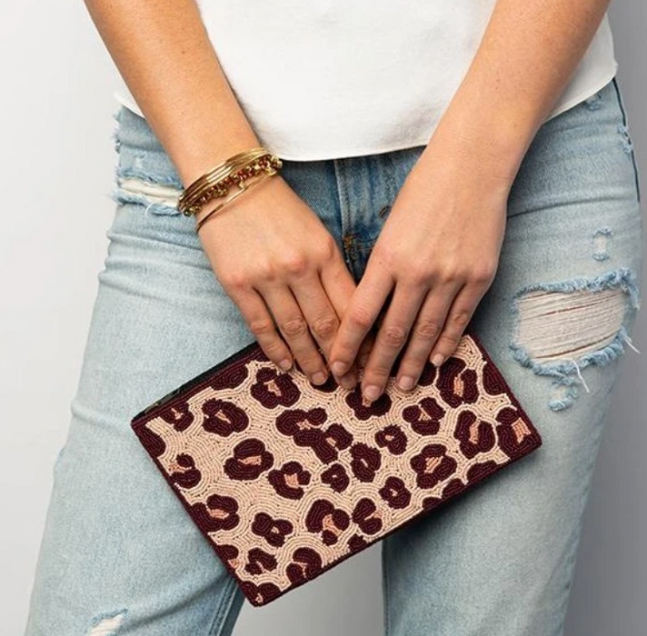Beaded Clutch - Pink Cheetah
