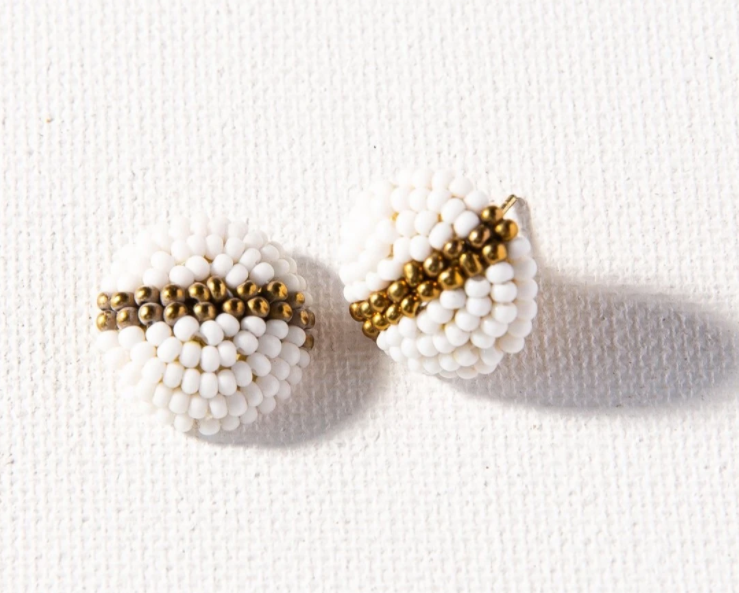 Beaded Button Post - White and Gold (PSER0201WH)