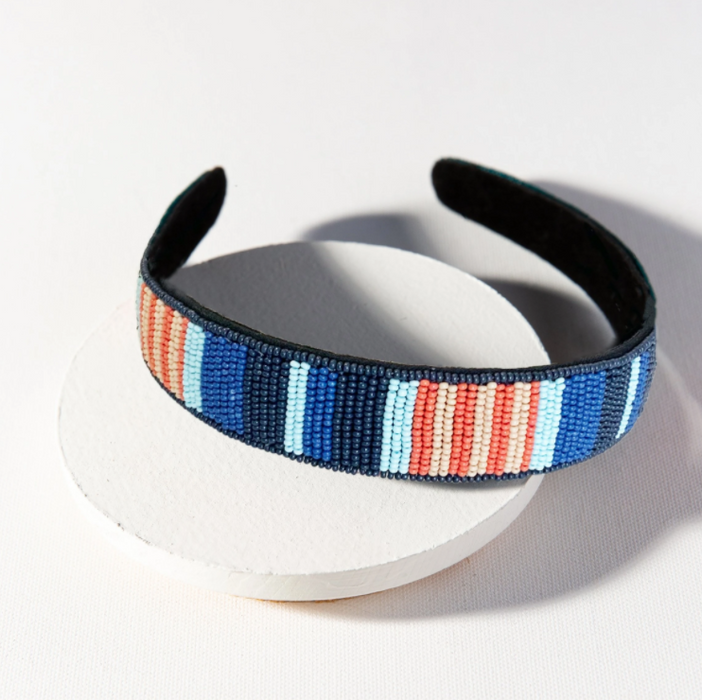 Beaded Headband - Lapis and Coral Stripe (SBHA0301LA)