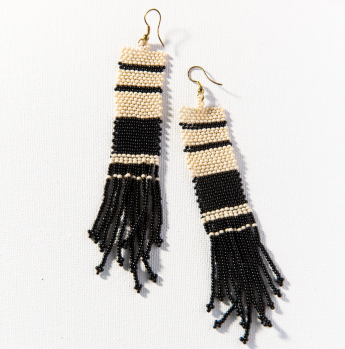 "Beaded 5"" Fringe Earring - Black and Ivory Stripe (SBER0701BW)"