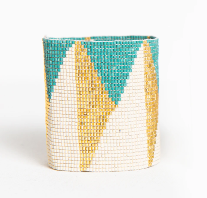 Thick Luxe Bracelet - Teal and Gold Triangle (LXBR0105)