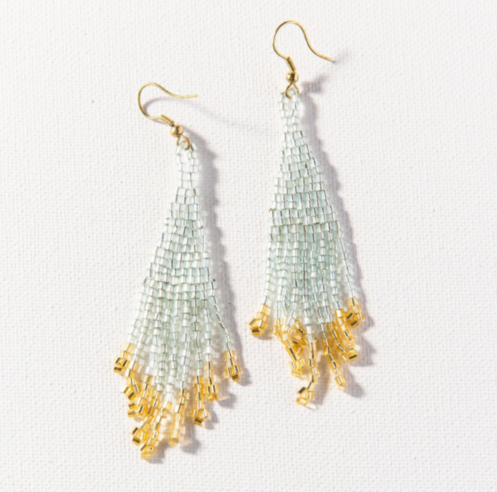 Beaded Fringe Earring - Sky and Gold (PRER0206)
