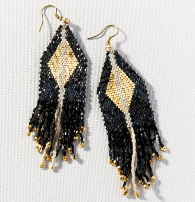 "Beaded 4"" Fringe Earring - Black and Gold Luxe (LXER0412)"