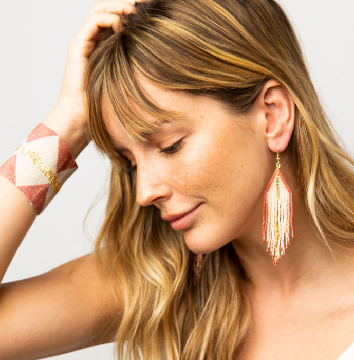 "Beaded 4.25"" Fringe Earring -Terra Cotta Ombre (LXER0808)"