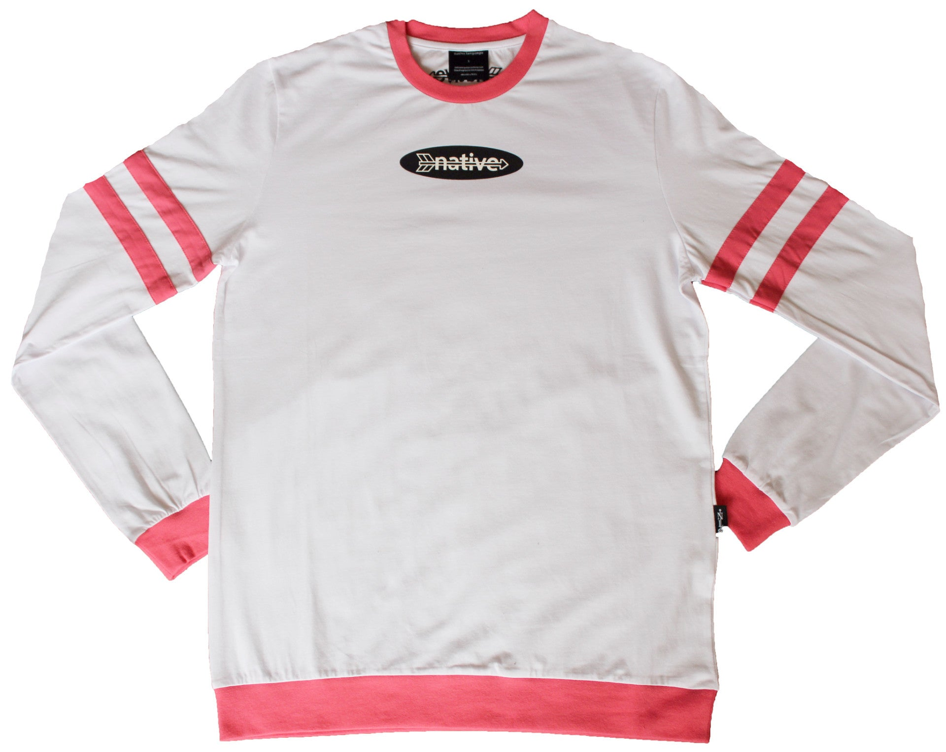 Long Sleeve Striped Tee in White/Coral